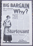 Sturtevant Vacuum Cleaners 1916 Magazine Advertisement