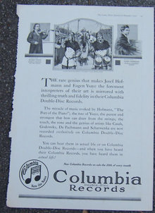 Columbia Records Eugen Ysaye and Josef Hoffmann 1916 Ad