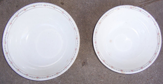 Set of Two Serving Bowls Crooksville China Small Roses