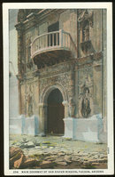 Postcard of Main Doorway of San Xavier Mission, Tucson, Arizona