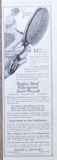 Hughes Ideal Waterproof Hair Brush 1917 Magazine Ad