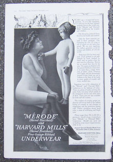 Merode and Harvard Mills Underwear 1916 Advertisement