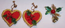 Two Pieces Christmas Jewelry Earrings and Pin w/Holly