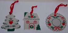 Set of Three Russ Berrie Ceramic Christmas Ornaments