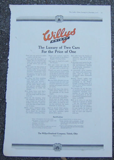 Willy's Knight Automobile 1916 Magazine Advertisement