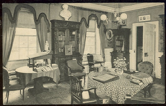 Postcard Longfellow's Study, Cambridge, Massachusetts