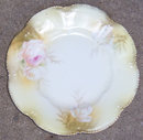 Vintage Pink and White Rose Plate with Gold Trim