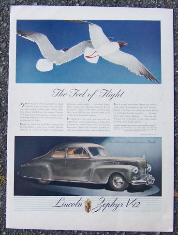 1942 Lincoln Zephyr V-12 Life Magazine Advertisement