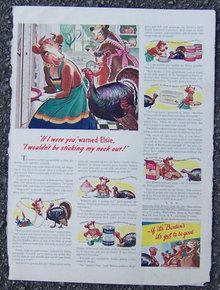 1941 Elsie and Turkey Borden  Holiday Magazine Ad