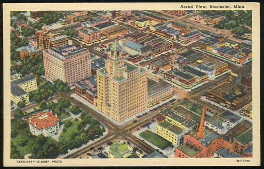 Postcard of Aerial View of Rochester, Minnesota