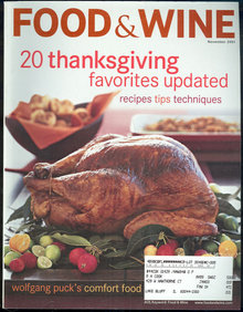 Food & Wine Magazine November 2001 Thanksgiving Dinner