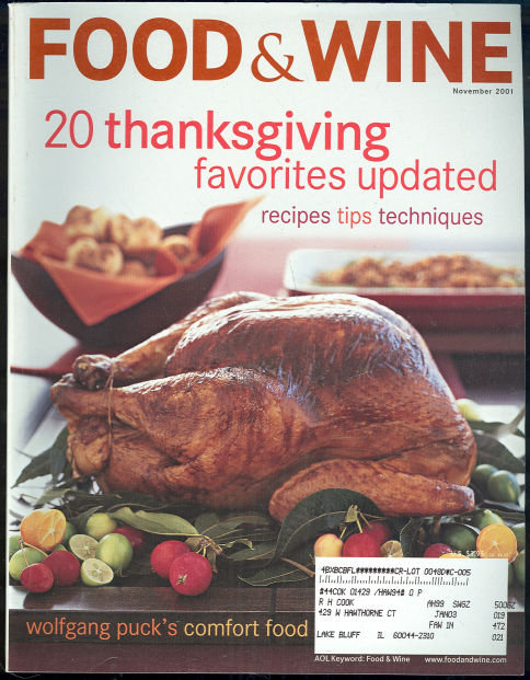 Food & Wine Magazine November 2001 Thanksgiving Dinner