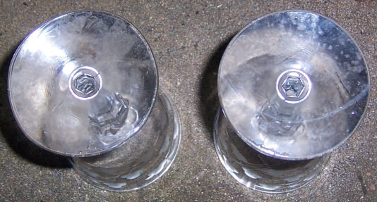 Set of Two Vintage Floral Etched Red Wine Glasses