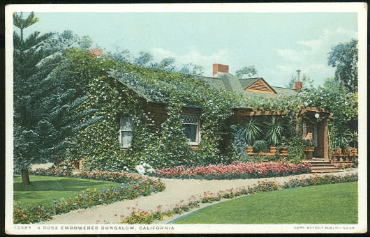Postcard of A Rose Embowered Bungalow, California