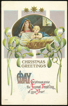 Religious Christmas Postcard With Mary and Baby Jesus