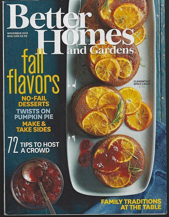 Better Homes and Gardens Magazine November 2015 Fall Flavors/Thanksgiving/Pie
