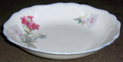 US Zone Germany Jaeger Soup Bowl with Red/White Flowers