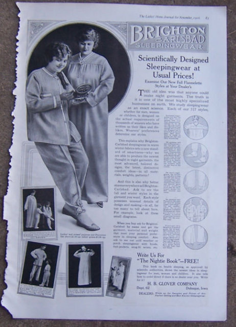 Brighton Carlsbad Sleepingwear 1916 LHJ Advertisement