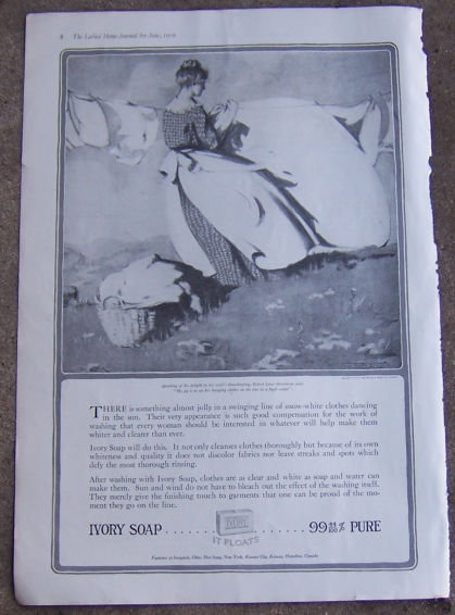 Ivory Soap Hanging Clothes on Line in High Wind 1916 Advertisement