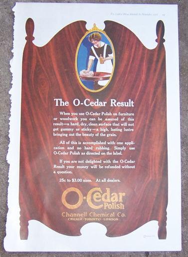 O-Cedar Furniture Polish 1916 Color Advertisement