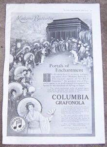 Madame Butterfly on Columbia Grafonola 1917 Ad