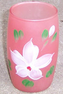 Vintage Pink Glass with Handpainted White Flower
