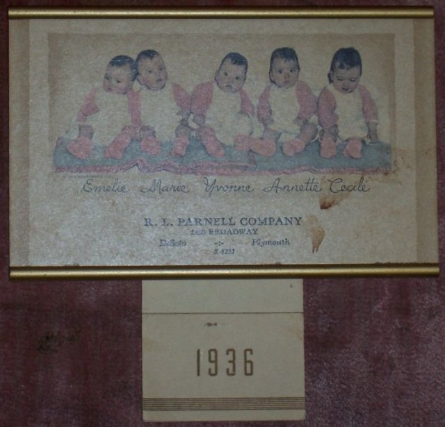 1936 Dionne Quintuplets Calendar From R. L. Parnell Co