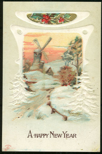 Happy New Year Postcard with Snowy Scene and Windmill