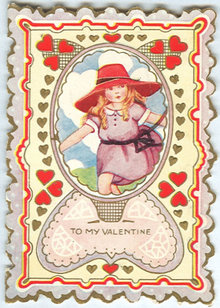 Vintage Valentine with Little Girl in Large Red Hat