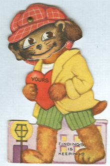 Vintage Valentine with Dog in Cap and Movable Eyes