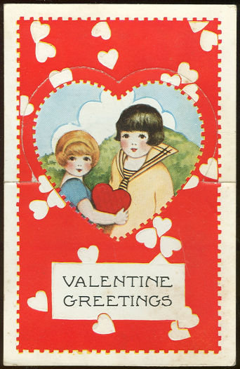 Vintage Valentine Card of Little Girl and Boy w/ Heart