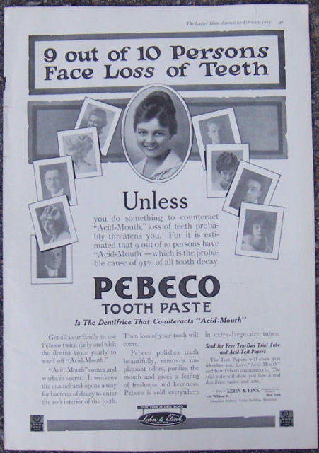 Pebeco Toothpaste Fights Acid Mouth 1917 Advertisement