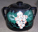 Black Pottery Cookie Jar with Handpainted Grapes