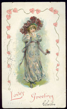 Valentine Postcard Lovely Lady Love's Greeting 1907