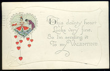 Valentine Postcard With Couple in Dainty Heart 1927