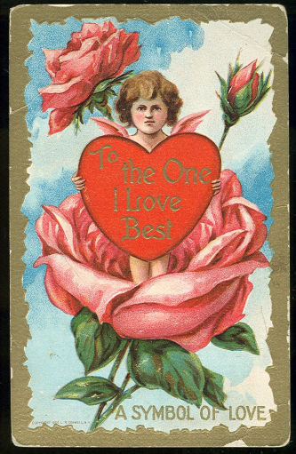 Valentine Postcard Cupid Holding Heart Symbol of Love
