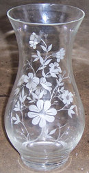Large Glass Vase with Etched Floral Design Both Sides
