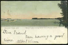 Beaver Lake, Beaver Dam, Wisconsin 1907 Postcard