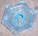 Vintage Blue Glass Candle Holder With Rustic Surface