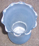 Vintage Light Blue Glass Vase with Ruffled Top