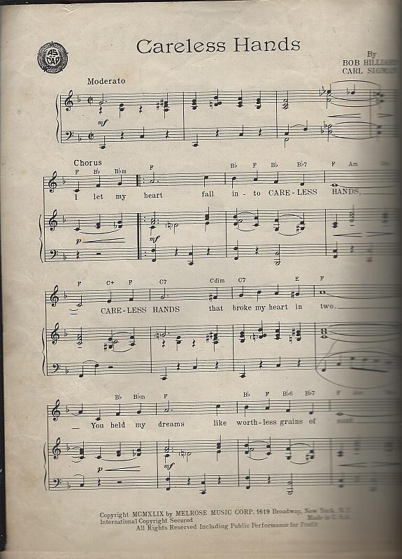 Careless Hands Featured by Mel Torme 1949 Sheet Music