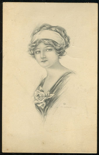 Lovely Victorian Lady with Rose 1918 Postcard