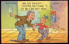 Comic Postcard of Little Boy Following the Ladies