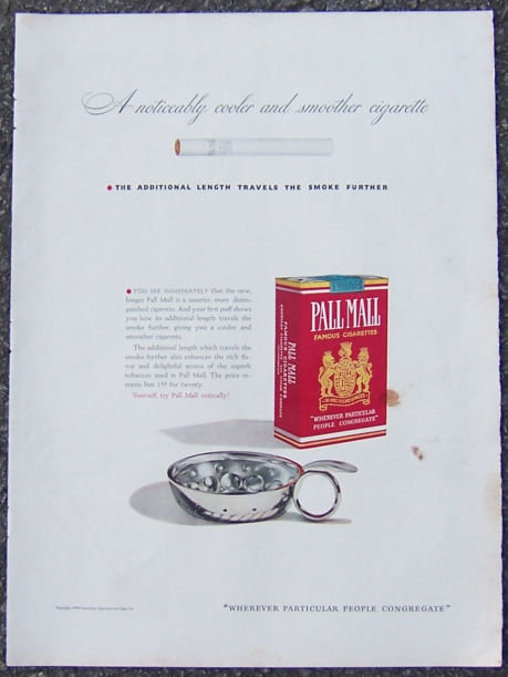 1940 Pall Mall Cigarette Life Magazine Advertisment