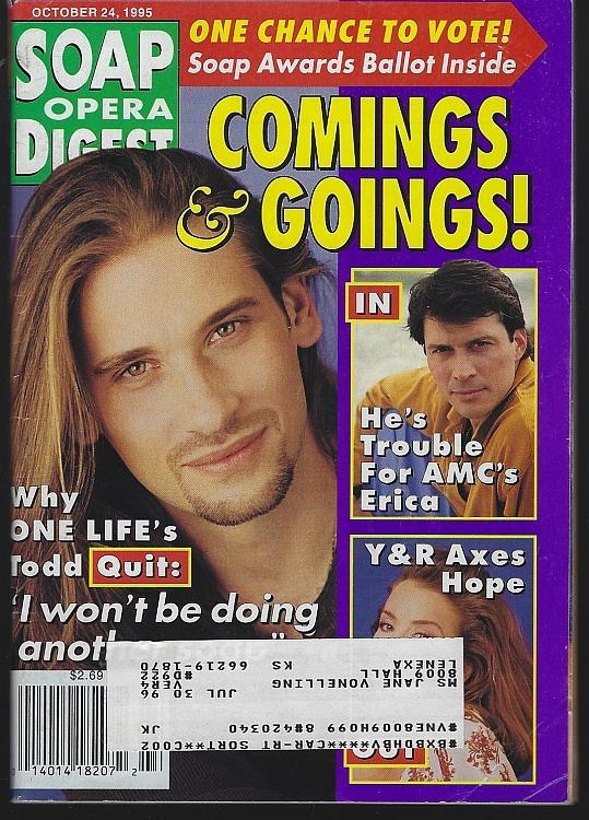 Soap Opera Digest October 24, 1995  Roger Howarth One Life to Live on the Cover