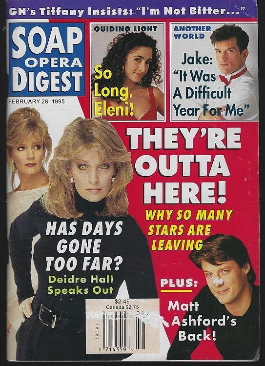 Soap Opera Digest Magazine February 28, 1995 They 're Outta Here on the Cover