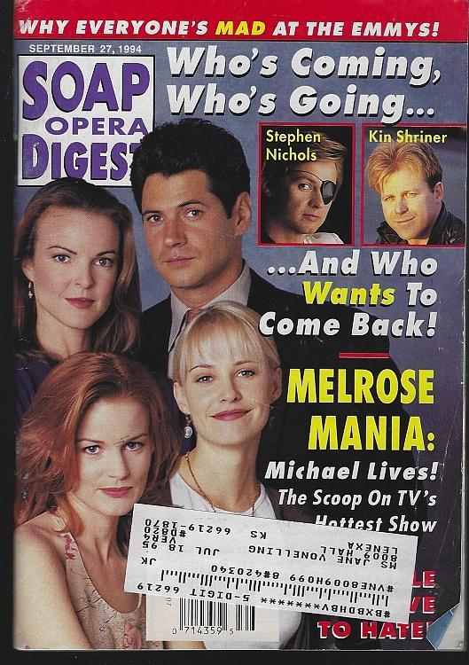 Soap Opera Digest Magazine September 27, 1994 Melrose Mania on the Cover