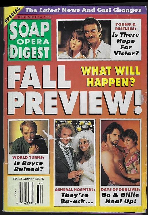 Soap Opera Digest September 14, 1993 Fall Preview/Barbara Crampton/Linda Dano