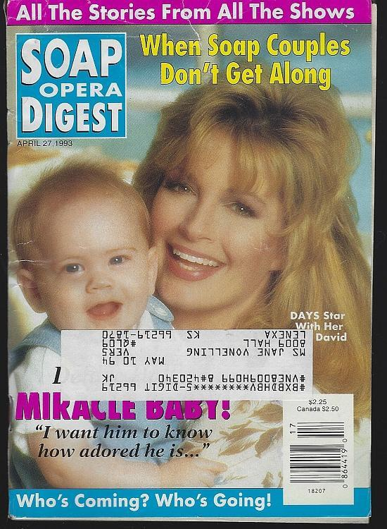 Soap Opera Digest Magazine April 27, 1993 Deidre Hall's Miracle Baby on Cover/Douglas Marland