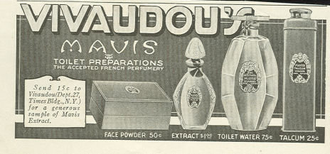 Vivaudou's Mavis Toliet Preparations 1917 Magazine Advertisement